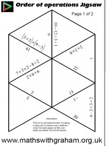 picture relating to Order of Operations Game Printable called Jigsaws