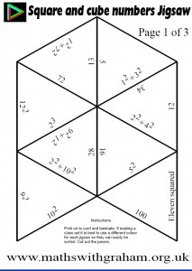 Square and Cube Numbers Jigsaw