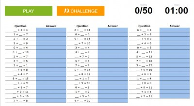 Addition and subtraction speed quiz